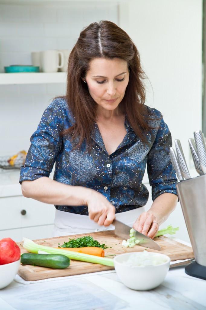chopping an onion, vegetable soup, Pamela Salzman