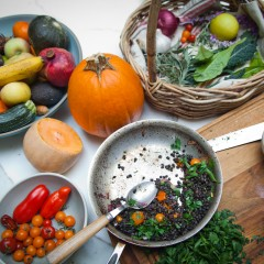 The Local Rose teaches readers how to eat in rhythm with the season by sharing her vegetarian winter squash recipe using root vegetables, lentils and herbs.