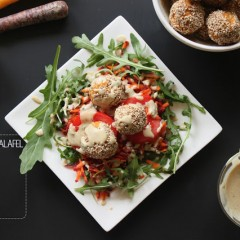 The Local Rose shares a healthy and hearty vegetarian recipe for sweet potato falafel with tahini mint sauce.